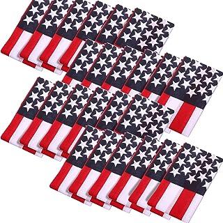 24 Pack American Flag Cotton Bandanas Headband USA Flag Clothing Bandana Patriotic Accessories, Unisex USA Flag Print Head...