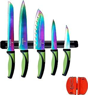 SiliSlick Juego de inicio de cocina Rainbow Knife (5 cuchillos de hoja profesional de grado Rainbow) | Incluye Afilador de cuchillos y colgador de pared magnético