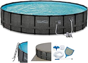 Summer Waves Elite 22ft x 52in Above Ground Frame Outdoor Swimming Pool Set with Filter Pump, Pool Cover, Ladder, Ground Cloth, and Deluxe Maintenance Kit