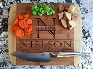 Personalized Wood Cutting Board for Mom or Grandma (11 x 14 Two Tone Curved, Nielson Design) - Customized Gift For Couples...