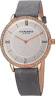 Akribos XXIV Women's Swarovski Crystal Slim Watch - Crystal Accented Bezel on Step-Down Dial with Genuine Leather Strap - AK924