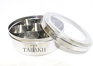 Tabakh Stainless Steel Masala Dabba/Spice Container Box with 7 Spoons - Clear Lid