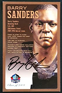 PRO FOOTBALL HALL OF FAME Barry Sanders NFL Signed Bronze Bust Set Autographed Card with COA (Limited Edition #94 of 150)