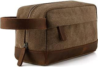 Plambag Canvas Leather Toiletry Bag for Men, Travel Dopp Kit Shaving Bag Organizer(Coffee)
