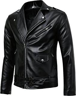 Men's Classic Police Style Coat Faux Leather Motorcycle Jacket