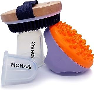MonaRx Beauty Anti Cellulite & Stretch Mark Kit (Vegan & Cruelty Free Dry Brush + Fascia Massager + Silicone Vacuum Body C...