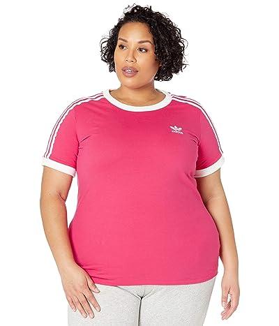adidas Originals Plus Size 3-Stripes Tee (Power Pink/White) Women