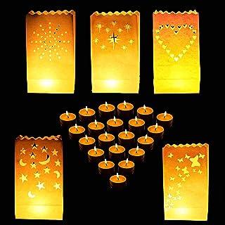 Bolsas para Velas (50 Paquete ) - Resistente al Fuego Linternas de Papel Blanco para Partido y Decor de la Boda con Velas Té - Estrella, Corazón, Puntos, Estrella y Luna y Mariposa Diseño Luminarias