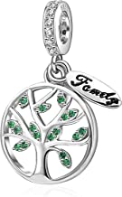 SoulBeads Family Tree of Life Charms 925 Sterling Silver Dangling Bead Charm with CZ Fits Charms Bracelet