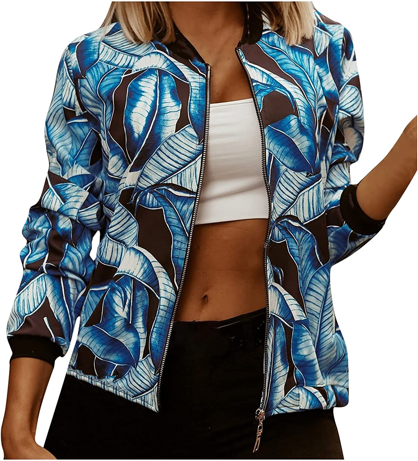 Casual Womens Jackets Fall Stitching Stand Up Collar Blouse Thin Full Zipper Top Short Print Outwear Coat