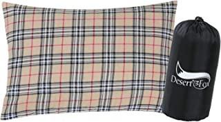 DESERT & FOX Cotton Flannel Camping Pillow, Portable & Lightweight Sleeping Bag Pillows with Cases for Outdoor Travel, Cam...