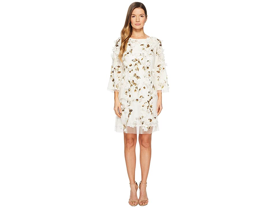 Marchesa Notte Embroidered Tunic with Sequins and Beads (Ivory) Women
