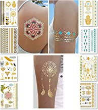 Metallic Temporary Tattoos for Women Teens Girls - 8 Sheets Gold Silver Temporary Tattoos Glitter Shimmer Designs Jewelry ...