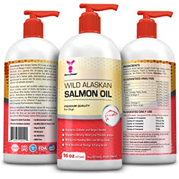 Wild Alaskan Salmon Oil for Dogs, Cats, Ferrets - 16 & 32oz Pure Unscented Liquid Omega 3 Fatty Acid Fish Oil for Dogs - EPA DHA supplement for Pets - Helps Joints, Dry Skin, Coat - Just Pump on Food
