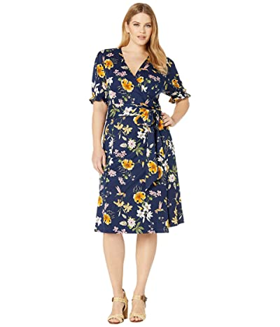 Kiyonna Tuscan Tie Wrap Dress (Hummingbirds & Lillies) Women