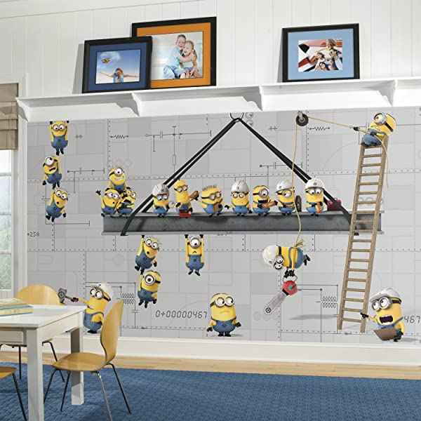 RoomMates Minions At Work Removable Wall Mural 10 5 Feet X 6 Feet