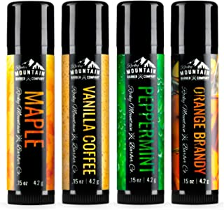 Lip Balm Set - 4 Scents - Maple, Vanilla, Peppermint, Orange Brandy - No Shine Matte Finish - Natural Ingredients Include Coconut Oil, Avocado Oil, Bees Wax, Shea Butter