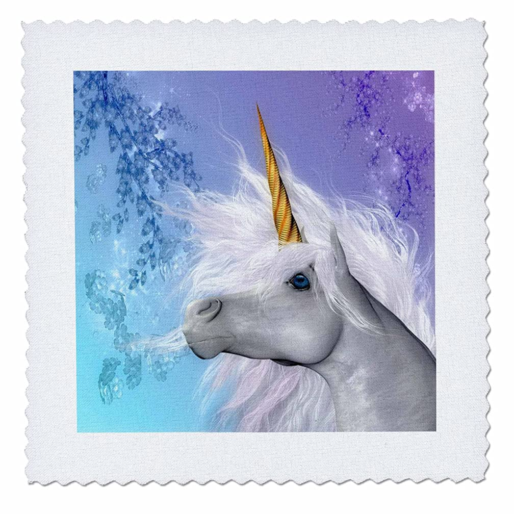 3dRose qs_52240_1 White Unicorn Brilliant Horn and Pastel Background Art in High Definition Quilt Square, 10 by 10-Inch
