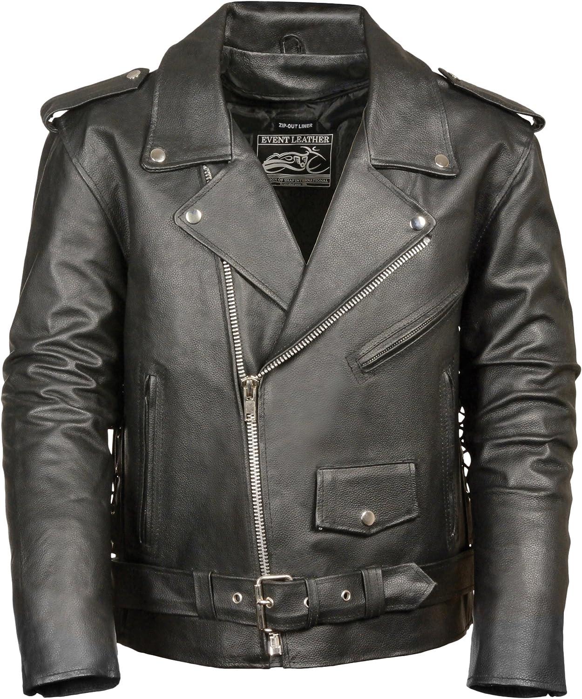Event Biker Leather Men's Basic Motorcycle Jacket with Pockets (Black, Medium)