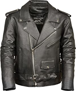 Event Biker Leather Men's Basic Motorcycle Jacket with Pockets (Black, X-Large)
