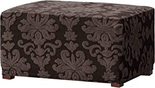 CHUN YI Elegant Jacquard Universal Ottoman Cover,Easy Fitted Oversized Storage Stool Ottoman Covers Slipcovers,High Elasticity Furniture Protector for Living Room (Oversize, Chocolate)