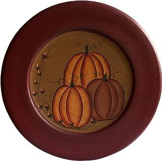 CVHOMEDECO. Primitive Antique Pumpkin Painted Wood Decorative Plate Halloween Display Wooden Plate Home Décor Art, 9-3/4 Inch