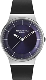 Kenneth Cole Men's BLUE DARK Dial Color Leather Strap Watch - KC50584002