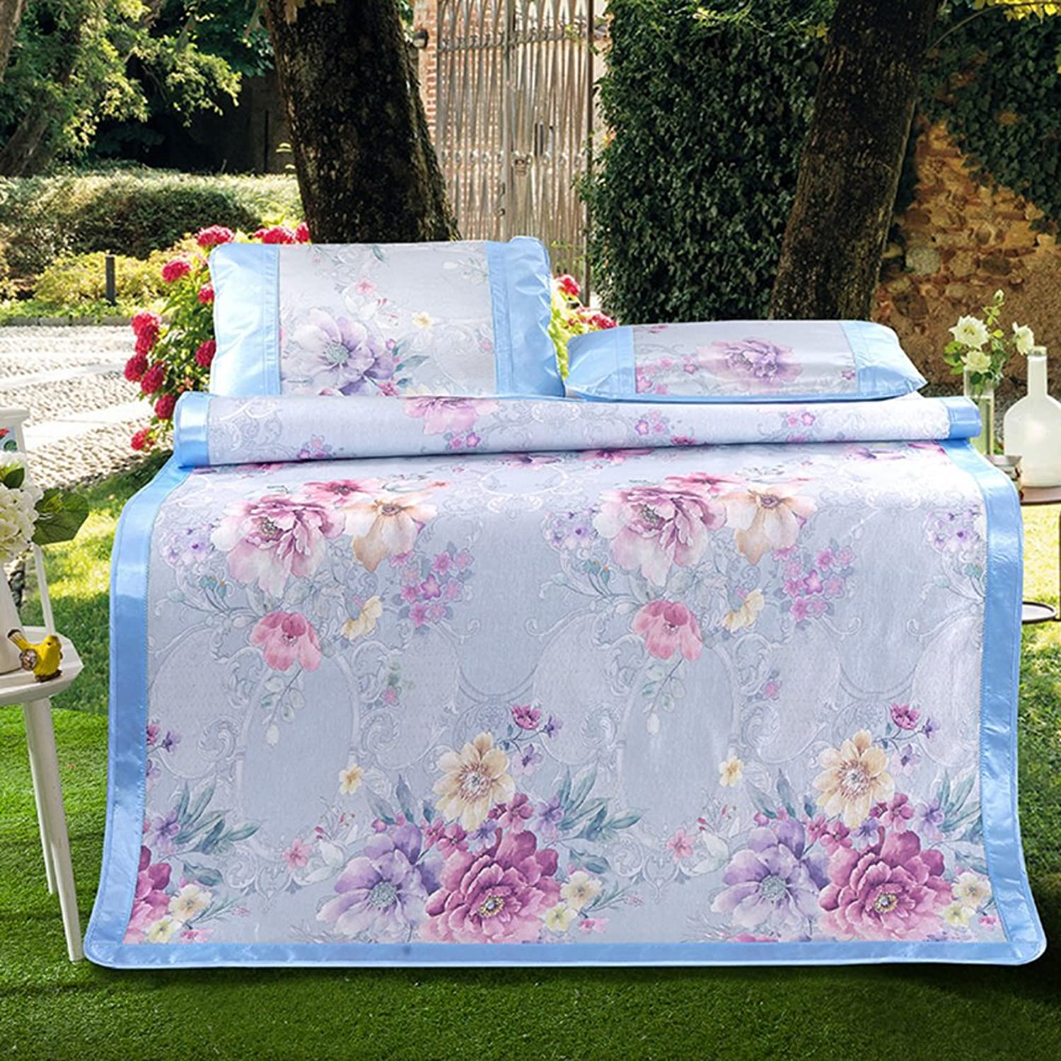 Summer Ice Silk Mat Three-Piece Foldable Printing Thick Air Conditioning Soft Seat(1 Mat+2 Pillowcase)-J Queen1