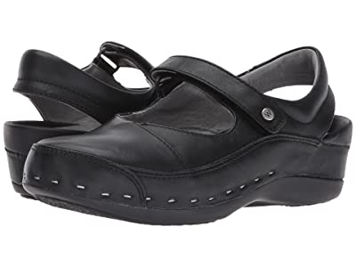 Wolky Strap Cloggy (Black Mighty Leather) Women