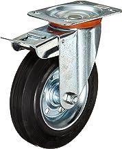 Dörner + Helmer 712222 massief rubberen vergrendeling stuurwiel met rollagers 200 x 50 mm/plaat 140 x 110 mm