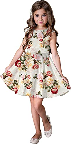 Fashion Girls Dress Kids Floral Digitally Printed Satin Lycra Blend Sleeveless Frock Party Dress Casual Dress for 2 6 Years Kids