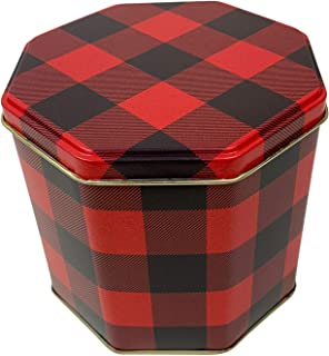 Christmas Holiday Octagon Nesting Cookie Tins (Red-Black Plaid)