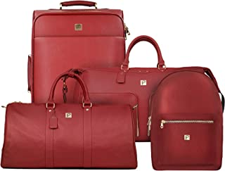 Elite Travel Luggage Set | 4 Piece Set Includes Spinner Suitcase, Weekender, Backpack, Duffel Bag | Airline Approved Vegan Leather with Gold Metal Zippers, Red