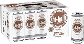 Hiball Energy Vanilla Sparkling Energy Water, Zero Sugar and Zero Calorie Energy Drink, 16 Fluid Ounce Cans, 8 Count