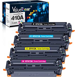 Valuetoner Compatible Toner Cartridges Replacement for 410A 410X CF410A CF411A CF412A CF413A for Color Laserjet Pro MFP M477fdw M477fnw M477fdn M452dw M452nw M452dn M377dw(1BK+1C+1M+1Y) Upgraded chip