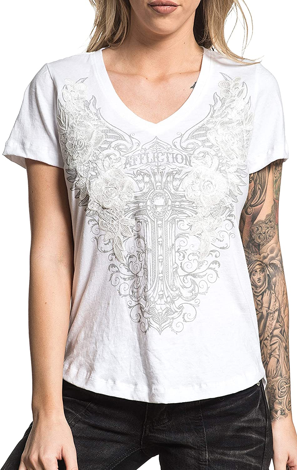 Affliction Live Lorelei Women`s Short Sleeve VNeck Embroidered Fashion Graphic Tshirt Top