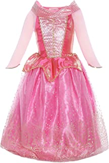 Canberries/® Prinzessin Kost/üm Kinder Glanz Kleid M/ädchen Weihnachten Verkleidung Karneval Party Halloween Fest Set aus Diadem Zauberstab,Zopf,Halskette Handschuhe