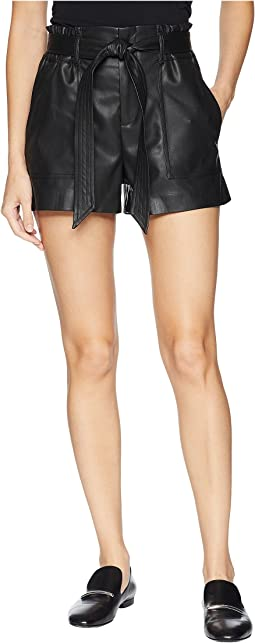 Vegan Leather Belted Shorts in Dark Web