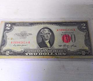 $2 Dollar 1953=A RED SEAL OLD USA Legal Tender Note United States Paper Money Bill
