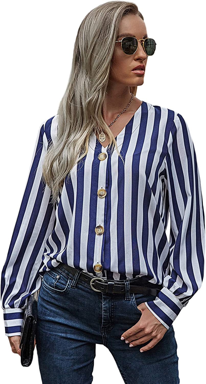 Milumia Women Striped V Neck Button Down Shirts Blouse Long Sleeve Work Office Top