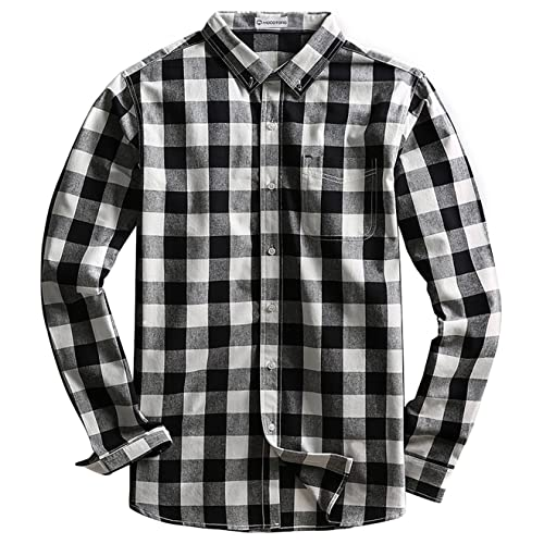 Fubotevic Men Plaid Long Sleeve Casual Loose Lapel Neck Button Up Shirt