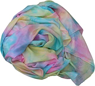 Winged Sirenny Tie-dye Colors Belly Dance Silk Veil, Light 5 Mommes Real Silk, 2.7m x 1.1m (3 yd x 43 in), Hand Rolled Edges