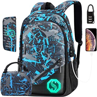 Backpack for Boys, Kids School Backpack boy with USB Charging Port Lunch Bag and Pencil Case, School Bag Kids 3-in-1 Bookb...