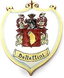 CERAMICHE D'ARTE PARRINI- Ceramica italiana artistica, pannello in ceramica scudo con stemma di famiglia personalizzato, d...