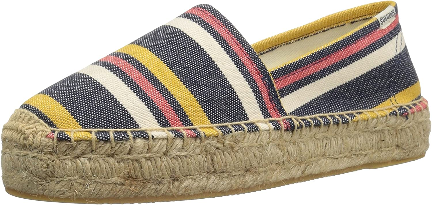 Soludos Womens Striped Original Platform Flat