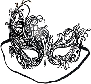 Loftus International Loftus Sultry Jewel Metal Masquerade Laser Cut Half Mask, One-Size, Black Novelty Item
