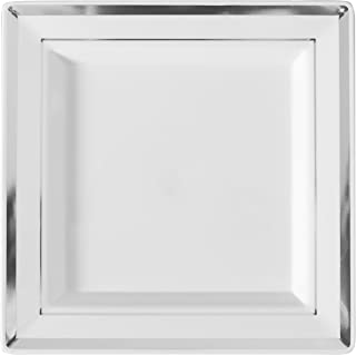 Silver Splendor 5510-WH Square Dinner Plate, 10-Inch, White and Silver