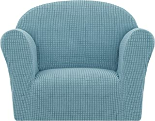 subrtex Children Kids Sofa Cover 1-Piece Stretch Sofa Bed Slipcover Soft Spandex Strapless Couch Protector(Chair,Light Blue)