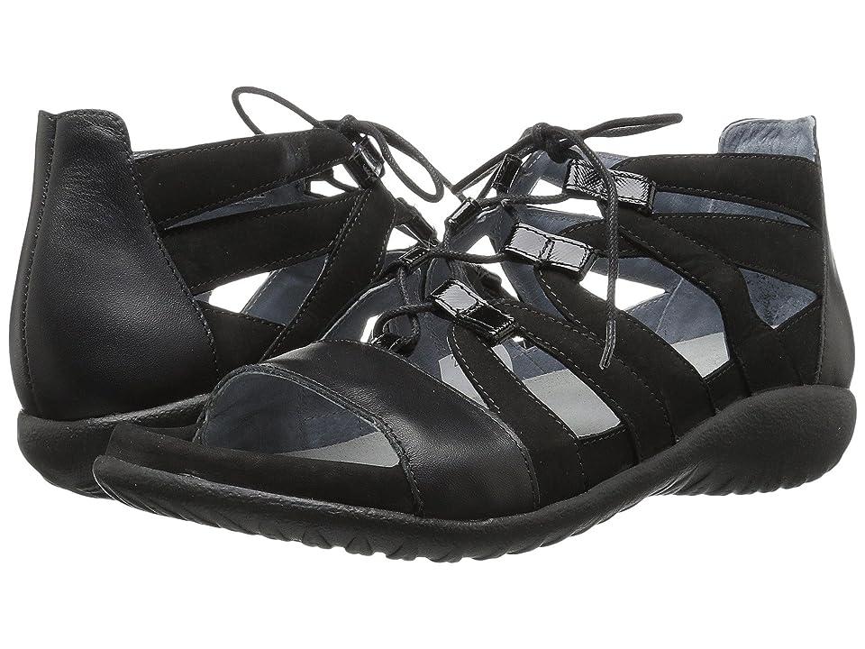 Naot Selo (Black Velvet Nubuck/Black Raven Leather/Black Luster Leather) Women