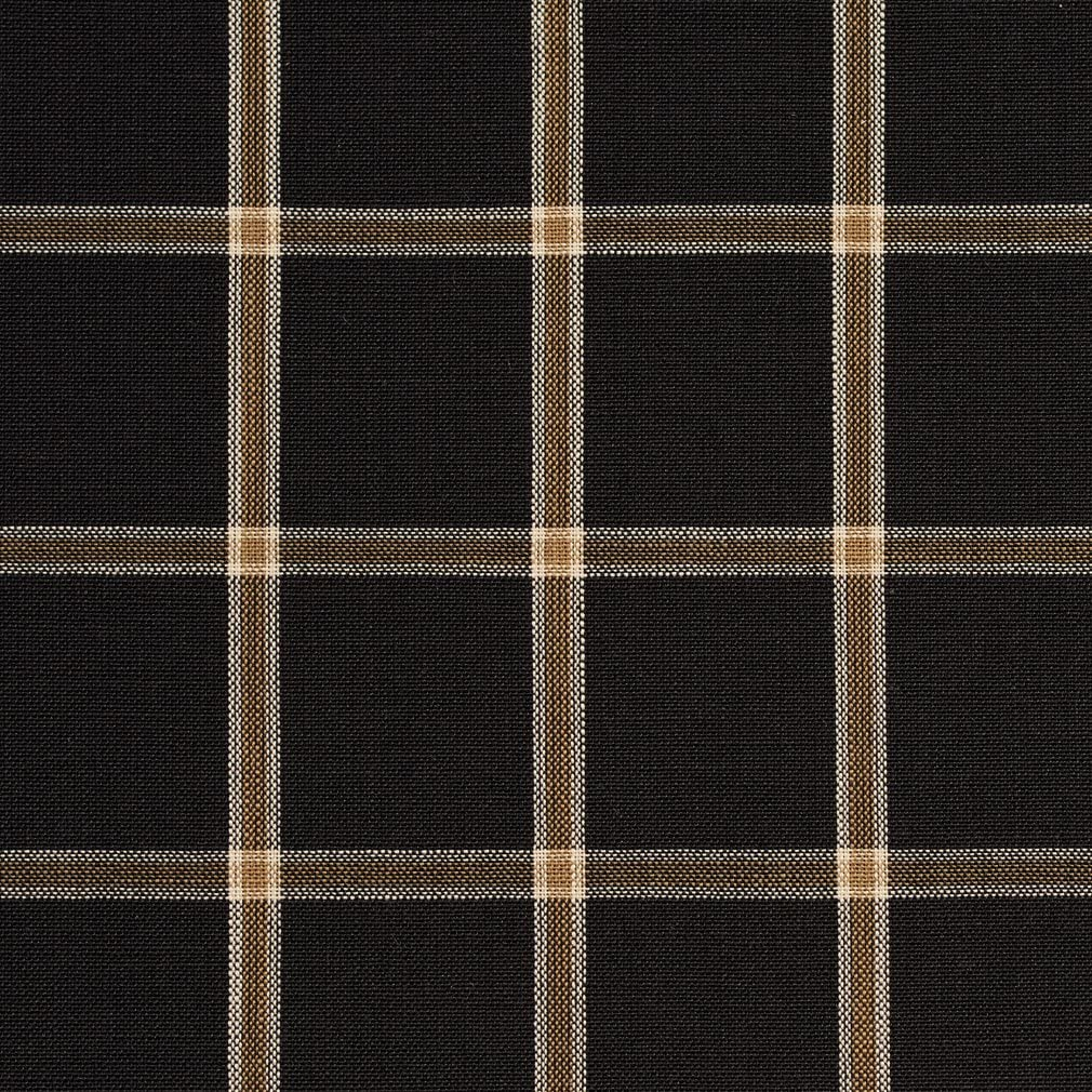 Black and Tan Gingham Check Raised Diamond Upholstery Fabric 1  78 Yards plus attached remnant